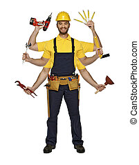young caucasian smiling handyman show his skill