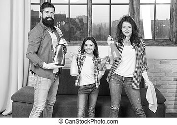 I can totally make that. Just Like Home. Professional Service. Family clean house. Happy family hold cleaning products. Clean your way of life. Mother, father and daughter clean house. Perfect team