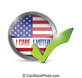 I care I voted seal button illustration design over a white...