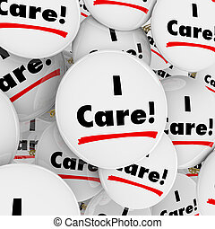 I Care Words Button Caring Compassionate Helpful People Workers Volunteers