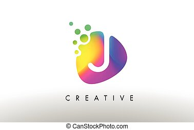 I Colorful Logo Design Shape. Purple Abstract Shape Letter Icon.