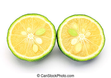 I cut citron and took it in a white background