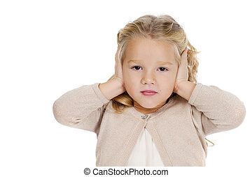 I do not want to hear - Portrait of beautiful little girl...