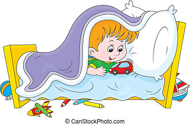 I do not want to sleep - Little boy playing with a toy car ...