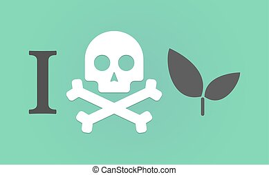 """I don't like"" hieroglyph with a plant"