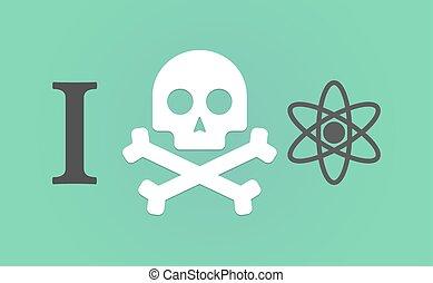 """""""I don't like"""" hieroglyph with an atom"""