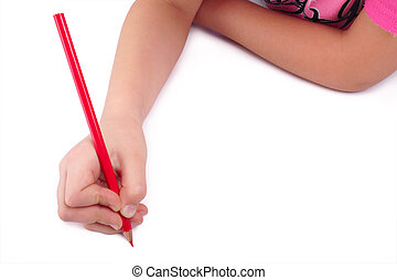 I draw! Child hand draws red pencil on blank background.