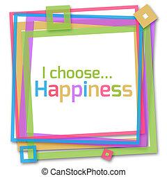 i, escolher, felicidade, coloridos, quadro