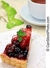 teatime - I expressed teatime with berry tart and tea.