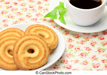 teatime - I expressed teatime with coffee and a cookie.