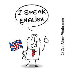 i, falar, inglês