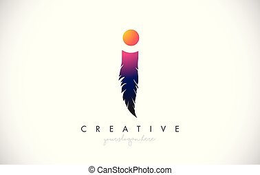 I Feather Letter Logo Icon Design With Feather Feathers Creative Look Vector Illustration