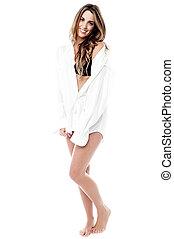 I feel shy ! - Shy woman in white shirt posing to camera,...