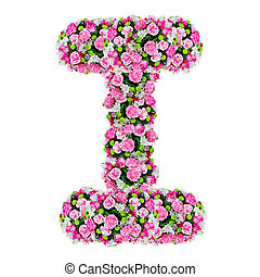 I, flower alphabet isolated on white with clipping path