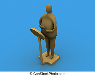 I got fat! - 3d person on a weighting machine.