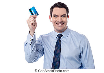I got my new credit card ! - Smiling male executive showing ...