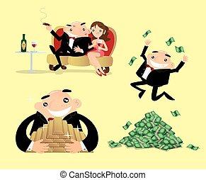 Vector illustration of a rich man