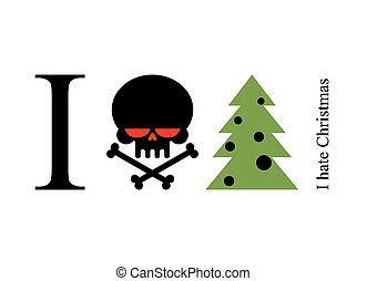 I hate new year. Skull and tree. Logo for opponents of merry winter holiday.