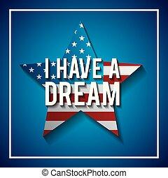 i have a dream postcard usa flag shaped star symbol