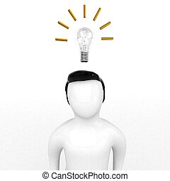 3d human thinking of new idea on white background