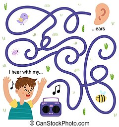 I hear with my ears. Funny maze game for kids. Learning five senses