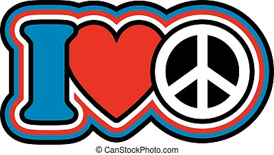"""Icon design of """"I Love Peace"""" in red, blue, black and white."""