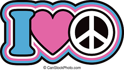 Retro-styled iconic peace design in pink and blue.