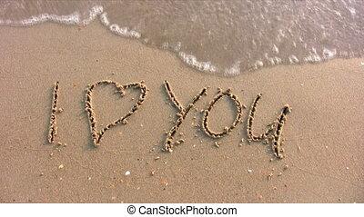 i houd van u, woord, op, strand