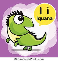 I Iguana color cartoon and alphabet for children to learning vector illustration eps10