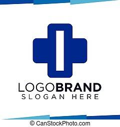 i Initial Letter cross medical logo vector template