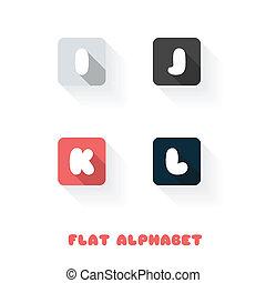 I J K L - Flat Design Button Alphabet