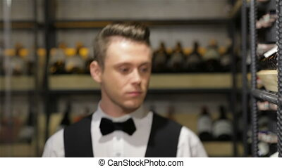 I know everything about wine. Confident male sommelier...