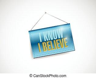 I know I believe hanging banner illustration