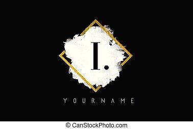 I Letter Logo Design with White Stroke and Golden Frame.