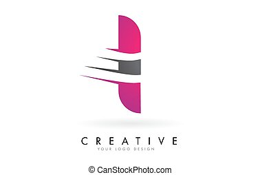 I Letter Logo with Pink and Grey Colorblock Design and ...
