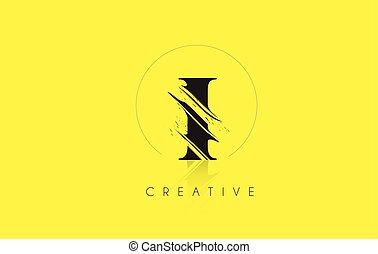 I Letter Logo with Vintage Grundge Cut Design. Destroyed Drawing Elegant Letter Icon Vector.
