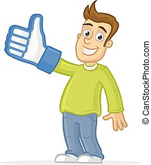 I like it - Happy man showing thumb up with foam finger ...