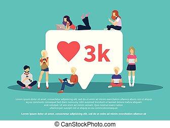 I like it social media bubble with red heart symbol. Flat ...