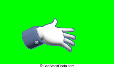 Hand showing thumb up, approval, gesture, and then negative, thumb down. Computer generated, green screen.