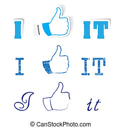 I like it ! - Vector set of like hand for social network ...