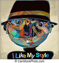 i like my style - colorful imaginative kid portrait made of...