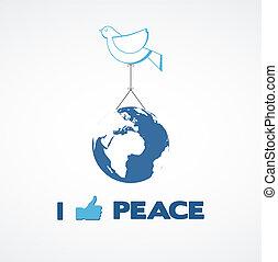 i like peace; peace dove holding a globe