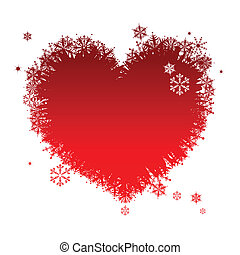 I like winter! Heart shape of snowflakes