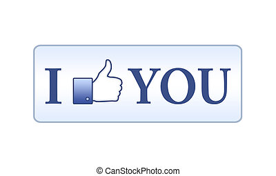 I like you button on white background