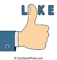 I like you - Illustration of thumb up as a symbol on a white...