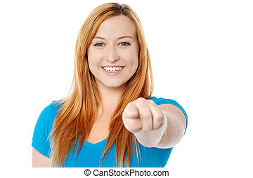 I like you very much. - Cheerful woman pointing her finger...