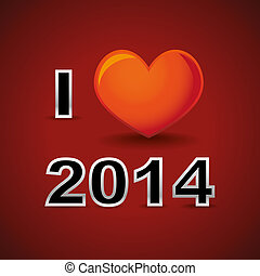 2014 - I love 2014, new year card