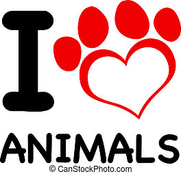 I Love Animals Text With Red Heart