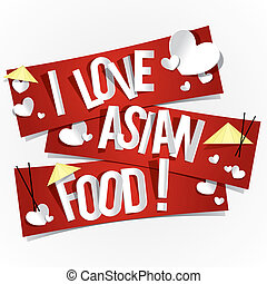 I Love Asian Food Banners vector illustration