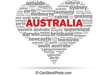 I Love Australia Illustration on white background.